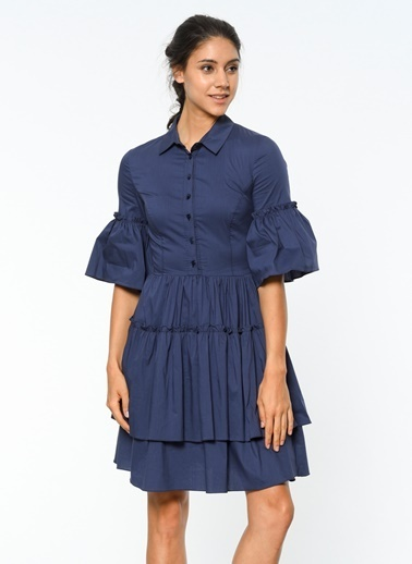 Volan Detaylı Gömlek Yaka Elbise-Utopian